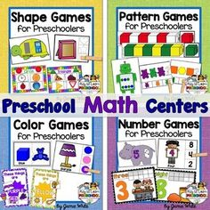 Preschool Math includes learning about shapes, colors, sorting, patterns and numbers. These 12 centers offer a fun, hands-on way for our youngest students to practice.Click on each link to see what is included in this bundle.Pattern Games for PreschoolersNumber Games for PreschoolersColor Games for PreschoolersShape Games for Preschoolers-------------------Thank you for the feedback and ratings.Enjoy playing and learning with your children!Jamie WhitePlay to Learn PreschoolBlog  Facebook…