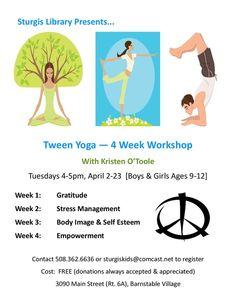 Free TWEEN yoga http://www.capecodmommies.com/1/post/2013/03/free-baby-tween-yoga-classes.html