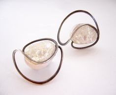 1950's Elsa Freund Silver + Glazed Ceramic Earrings