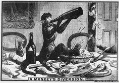 """A Monkey's Diversion"", Illustrated Police News  - Drunken Monkey Smashes Up Bar"
