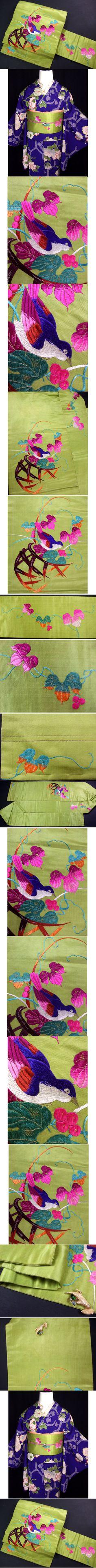 春のsale!!b739青い鳥!手刺繍アンティークなごや帯 - ヤフオク!