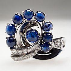 Retro Vintage 14 Carat Blue Sapphire & 1 Carat Diamond Brooch Pin 18K White Gold