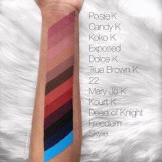 kylie color swatches.