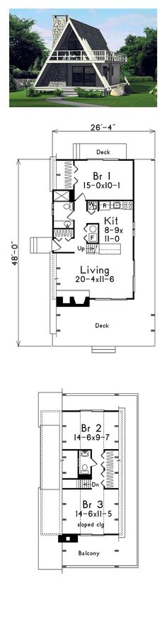 Style And Design Your Individual Enterprise Playing Cards In The Home A-Frame House Plan 86950 Total Living Area: 1272 Sq., 3 Bedrooms And Bathrooms. A Frame House Plans, Best House Plans, Small House Plans, House Floor Plans, A Frame Floor Plans, Plan Chalet, Casas Containers, Cabin Homes, Cabins In The Woods