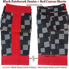 30e3db14 Black Denim Patchwork + Red Canvas Shorts via Hamlet Pericles, Inc.    #HamletPericlesFashion