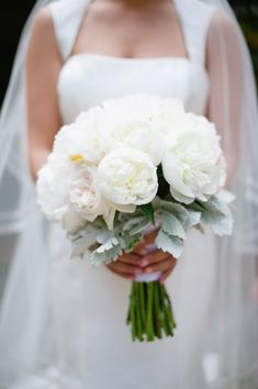White Peony and Dusty Miller Bouquet | photography by http://hazelnutphotography.com/