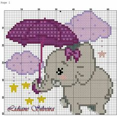 This Pin was discovered by Dan Baby Cross Stitch Patterns, Cute Cross Stitch, Cross Stitch Charts, Cross Stitch Designs, Pixel Crochet Blanket, Crochet Blanket Edging, Broderie Simple, Diy Broderie, Elephant Cross Stitch