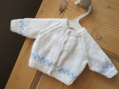 White and Light Blue Hand Knitted Baby Cardigan for Newborn Baby