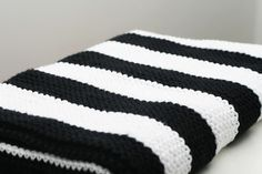 Modern Black and White Striped Cotton Hand Knit by FoxAndRebel