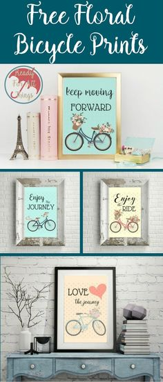 Free printable wall art makes for some of the best home decor. Floral bicycle prints are my favorite! The are uplifting and pretty and will look great in any room. I love projects made from crafty ideas and inspiring life quotes. These prints are just wha