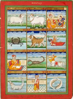 Painting, signs of the zodiac, opaque watercolour and gold on paper, Jaipur, ca. 1890  Marks and inscriptions: 'The twelve signs of the zodiac according to the Hindus'  Copyright: © V&A Images