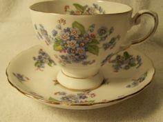 Vintage Royal Tuscan Fine Bone China Tea Cup & Saucer - Blue/Purple Flowers | eBay