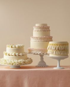 These sophisticated cakes were simply strung with store-bought Hawaiian garlands. They were ordered in several floral varieties—keeping them elegantly monochromatic—and attached with pins to several small cakes. We carried the floral notes through by infusing vanilla cake with rose water and chocolate cake with orange-blossom water.