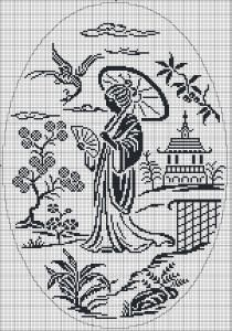 Traditional Chinese woman - Chart for cross stitch or filet crochet.