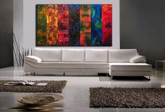 Huge Original Abstract Painting, Textured Modern Art by Henry Parsinia large  SIZE:84X 48X 1.58 7 panels of 48 x 12 x 1.58   TITLE : FLASH OF COLORS 3  Made to Order of my previously sold painting. Ill paint your painting by hand and it fill be very similar to my painting shown above. Any questions feel free to email me. MADE-TO-ORDER PAINTING - it will be similar to the one you see here, that I have already sold. Time frame to create: 4-5 business days.  This Contemporary abstract modern…