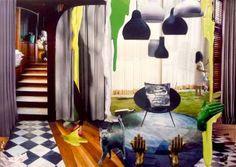 Original Interiors Collage by Ossa Haddas Online Gallery, Paper Art, Saatchi Art, Abstract Art, My Arts, Collage, The Originals, Artist, Interiors