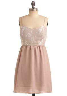 #14 BRIDESMAID DRESSES: Peach toned cream to match the pastels, would be prefect for this wedding! The embroidery/overlay at the top of the dress makes it even better. #modcloth #wedding