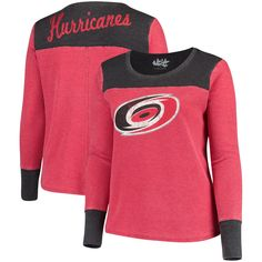 1c32990c6279e Carolina Hurricanes Touch by Alyssa Milano Women s Plus Size Blindside Tri-Blend  Long Sleeve Thermal T-Shirt - Red Black