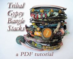 PDF Tutorial- Tribal Gypsy Bangle Stack. by fancifuldevices on Etsy https://www.etsy.com/listing/114199325/pdf-tutorial-tribal-gypsy-bangle-stack