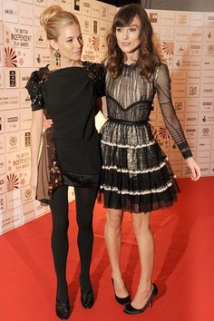 November 30 2008 At the British Independent Film Awards in Balenciaga with Sienna Miller in Louis Vuitton.