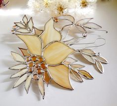 Stained Glass Suncatcher. Wild Forest Leaves In by jacquiesummer, $45.00