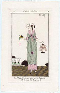 """""""Robe de linon rayé, bordée de linon rose. Fichu aussi de linon rose"""", Journal des Dames et des Modes, 1913; MFA 63.2555"""