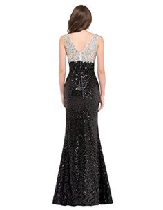 GRACE KARIN Womens V-Neck High-Split Sequined Prom Party Maxi Dress