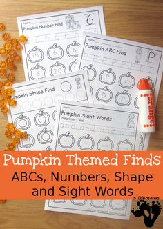 Pumpkin Sight Word, ABC Letter, Number & Shapes Find - $ easy no prep printable - loads of fun printables with uppercase and lowercase ABCs, Numbers words and digits, shape word and geometirc shape, all 220 Dolch Sight Words - 3Dinosaurs.com