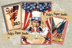 Patriotic Americana Vintage Inspired Collage by PollysPaper, $4.00