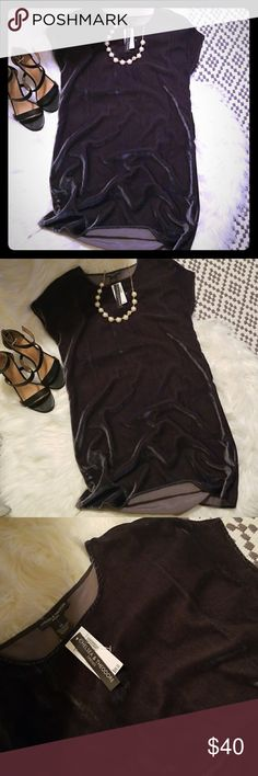 Grey velvet GORGEOUS dress! Grey velvet short sleeve dress. New with tags. Could be worn with a belt for a cute look! Size xs. Could definitely fit a small/medium as well. Chelsea & Theodore. Chelsea & Theodore Dresses