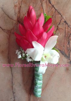 red ginger and Dendrobium orchid #boutonniere #buttonhole #weddings #flowers Affordable florist Cancun and Riviera Maya