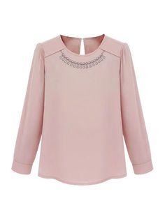 Western Elegant Rhinestones Embellished Round Collar Long Sleeve Chiffon Blouses