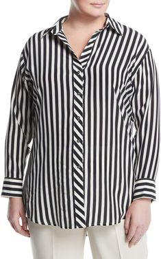 401f2289c3f Go Silk Striped Georgette Button-Front Blouse