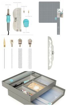 imaginascrap.com (France) Fuse Tool et accessoires  : Resistent Silicone Mat & Holster Set - Tapis et porte fuse - , Ruler - règles, Tips - pointes de soudures, Boite de rangement!,,,