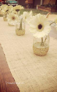Gold glitter dipped mason jar - gold glitter wedding - shower - party decor…