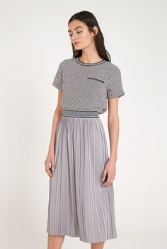 Louche Castor Pleated Midi Skirt