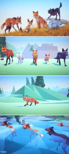 Poly Art: Fox 3D Models/Characters/Animals They're so many amazing Low Poly Art Environments but is so sad that there's no wild life to populate them.. So here is some beautiful animals! (FOX)They come with +62 AAA Animations.  Includes character controller, and a animator component but you can always create your own or modify the existing one4 different Styles(Fennec,Mane Wolf,Black,Common)*Magic Mode