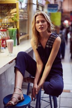 Embroidered Gauze Jumpsuit