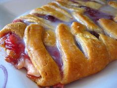 My Homemade Life: Princess Cherry Cream Cheese Crescent Braid - With a Special Cherry Hint! What's For Breakfast, Breakfast Recipes, Dessert Recipes, Breakfast Pastries, Breakfast Dishes, Just Desserts, Delicious Desserts, Yummy Food, Lemon Desserts