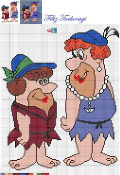 The Flintstone's x-stitch Filet Crochet Charts, Graph Crochet, Cross Stitch Alphabet Patterns, Cross Stitch Designs, Cross Stitch Freebies, Cross Stitch Charts, Pixel Art, Disney Magic, Stitch Cartoon