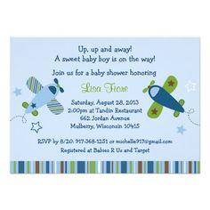 Airplane Aviator Baby Shower Invitations