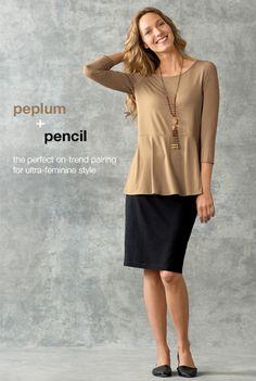 wearever peplum top, wearever pencil skirt, favorite skimmers  semiprecious beaded tassel necklace | www.jjill.com