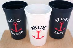 Nautical Bachelorette Party Cups  Set of 3 by GoldLemonDesigns