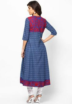 Kurti'S 3/4Th Sleeve Blue Embroidered Kurta - Buy Women Kurtas & Kurtis Online | KU502WA60PJJINDFAS