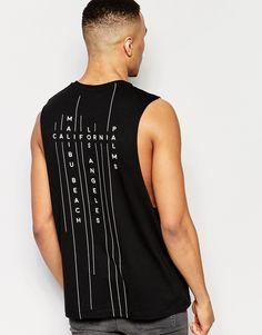 Imagen 1 de Camiseta sin mangas con estampado en la espalda de ASOS