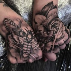 Hand Tattoo insect and Rose in 3D  - http://tattootodesign.com/hand-tattoo-insect-and-rose-in-3d/  |  #Tattoo, #Tattooed, #Tattoos