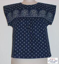 Dilians Bluse mit Bordüre Short Sleeve Dresses, Dresses With Sleeves, Folklore, Indigo, Modern, Design, Fashion, Fabrics, Blouse