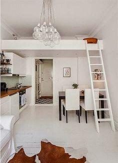 Pequenos Espaços: O desafio de projetar um loft de 21 m2 com cozinha, sala de jantar e sala de estar. E ficou lindo! Veja mais neste post: http://zip.net/bmpxq8