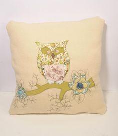 Appliqué Owl Cushion- Wool    $70    http://matchboxstudios.co.nz/boutique-unique-designs/homewears/applique-deer-cushion-wool-duplicate/
