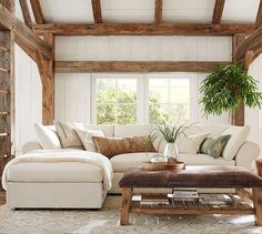 PB Air Upholstered 4-Piece Sofa with Chaise Sectional | Pottery Barn